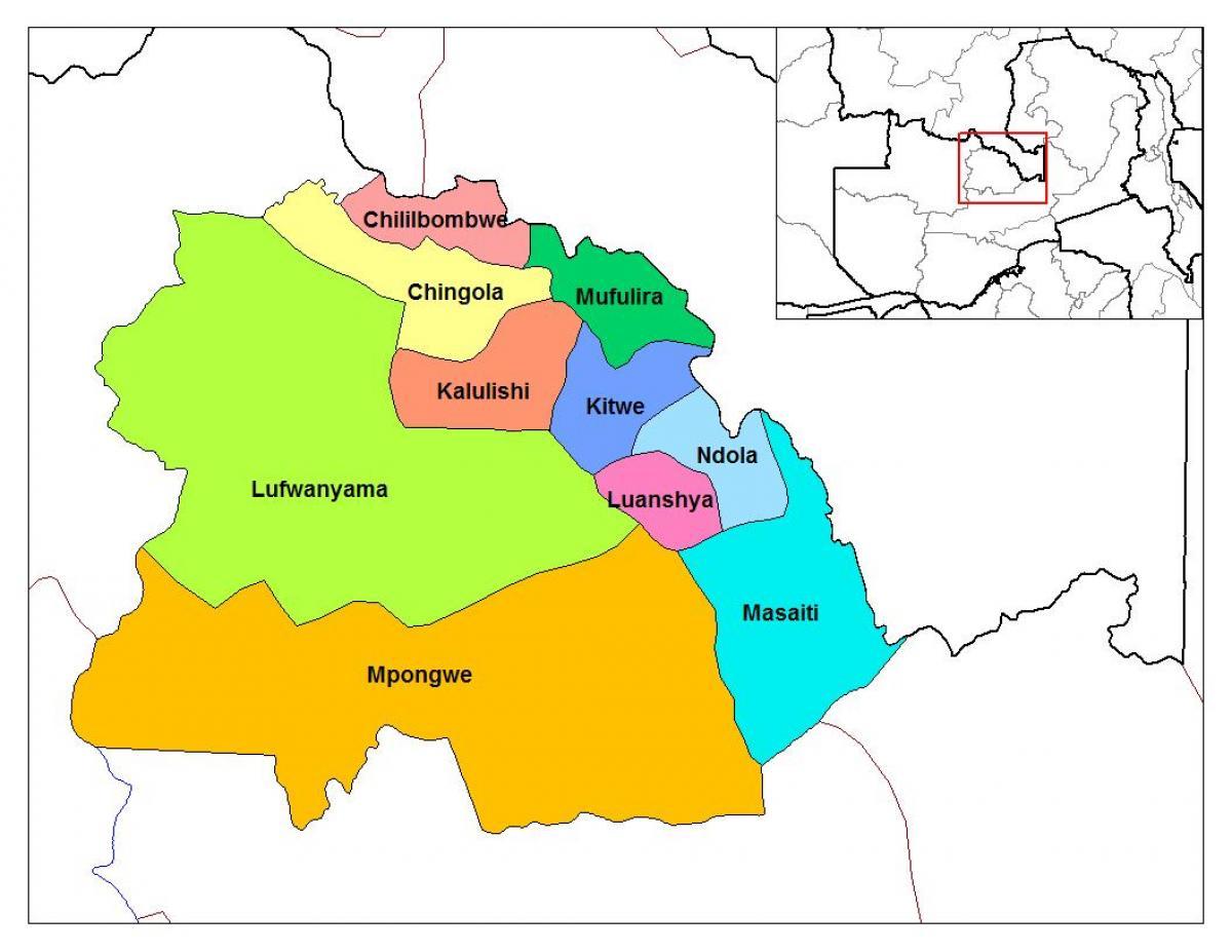Copperbelt Zambia map - Map of copperbelt province Zambia ...