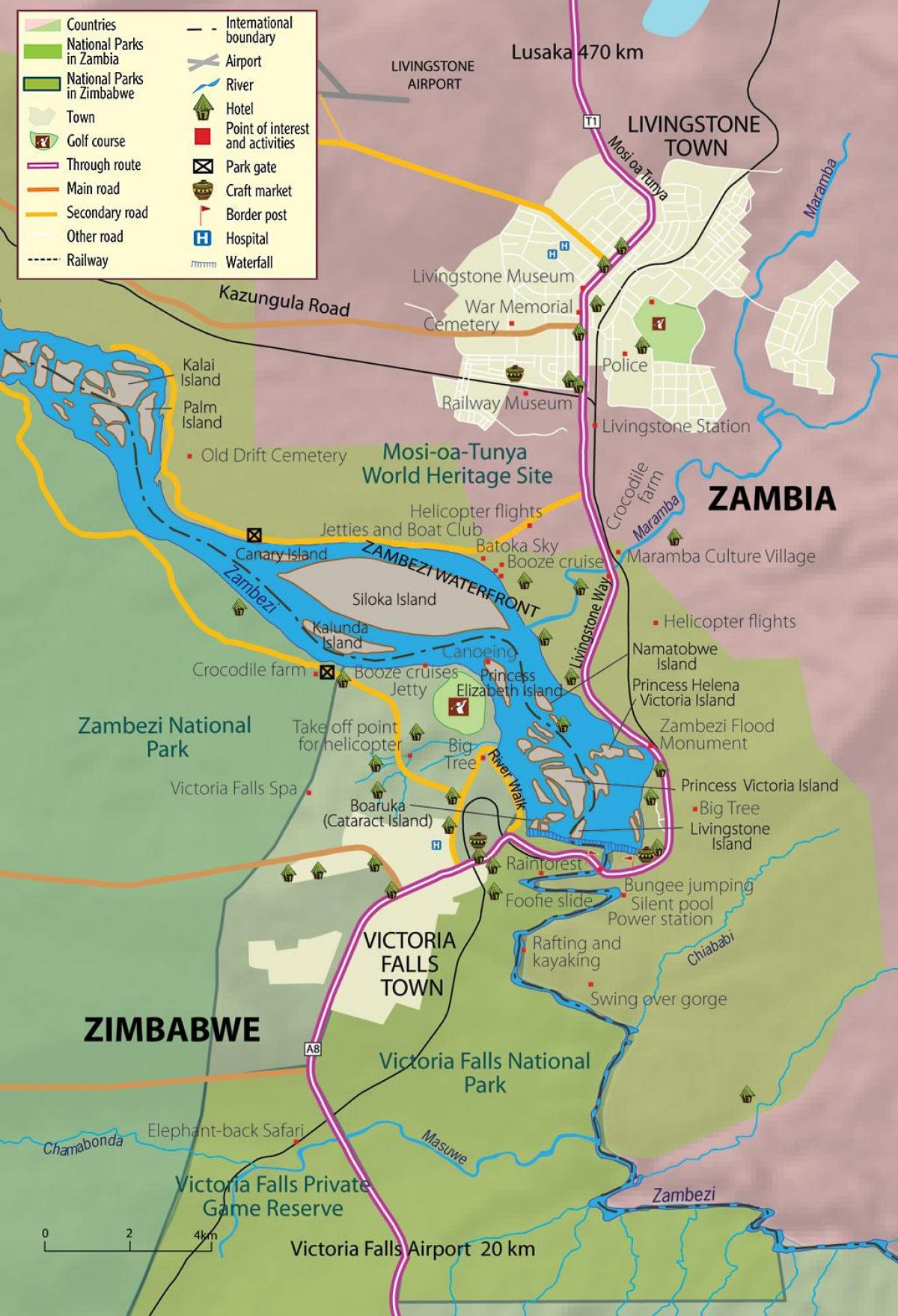 map of livingstone town Zambia