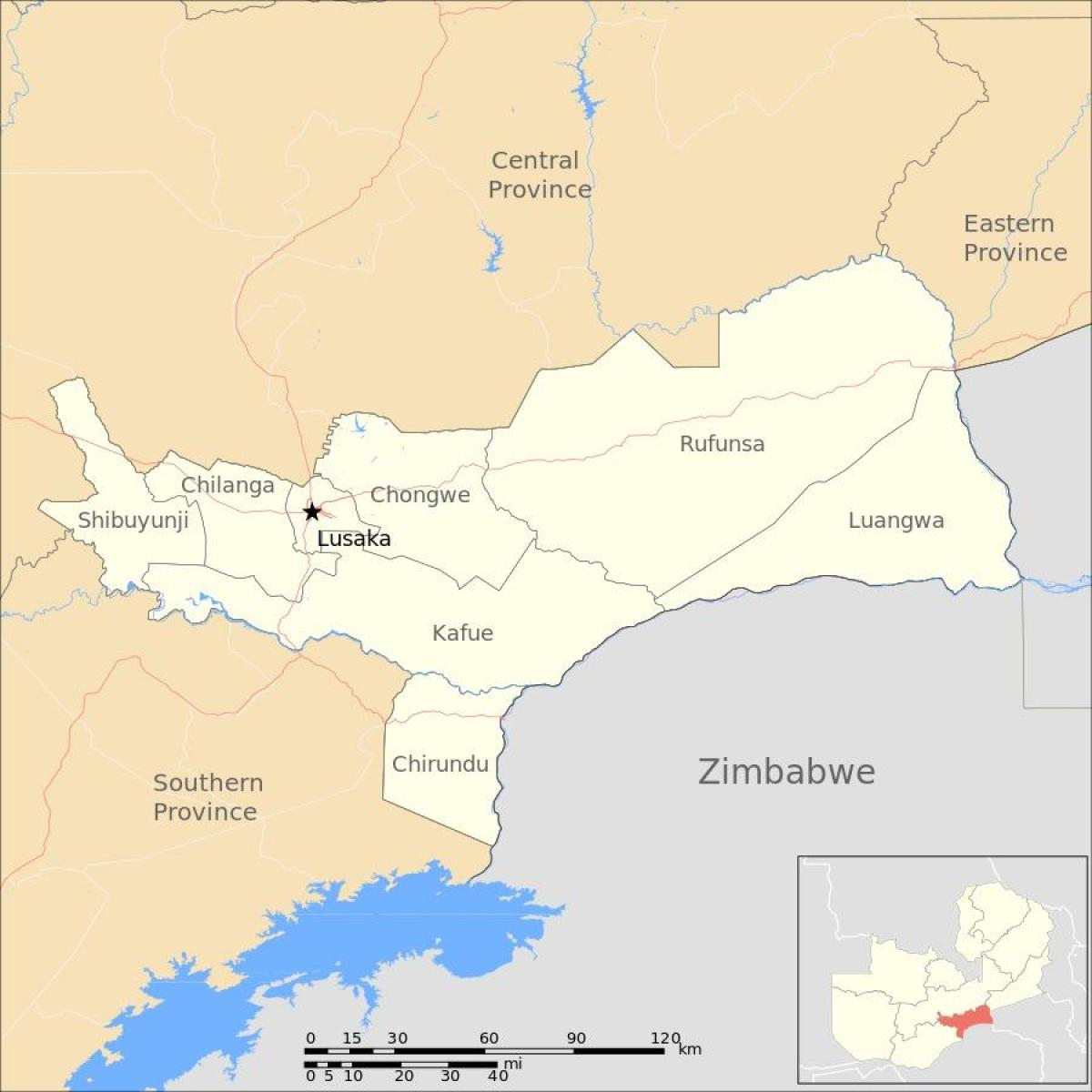 Map of lusaka Zambia