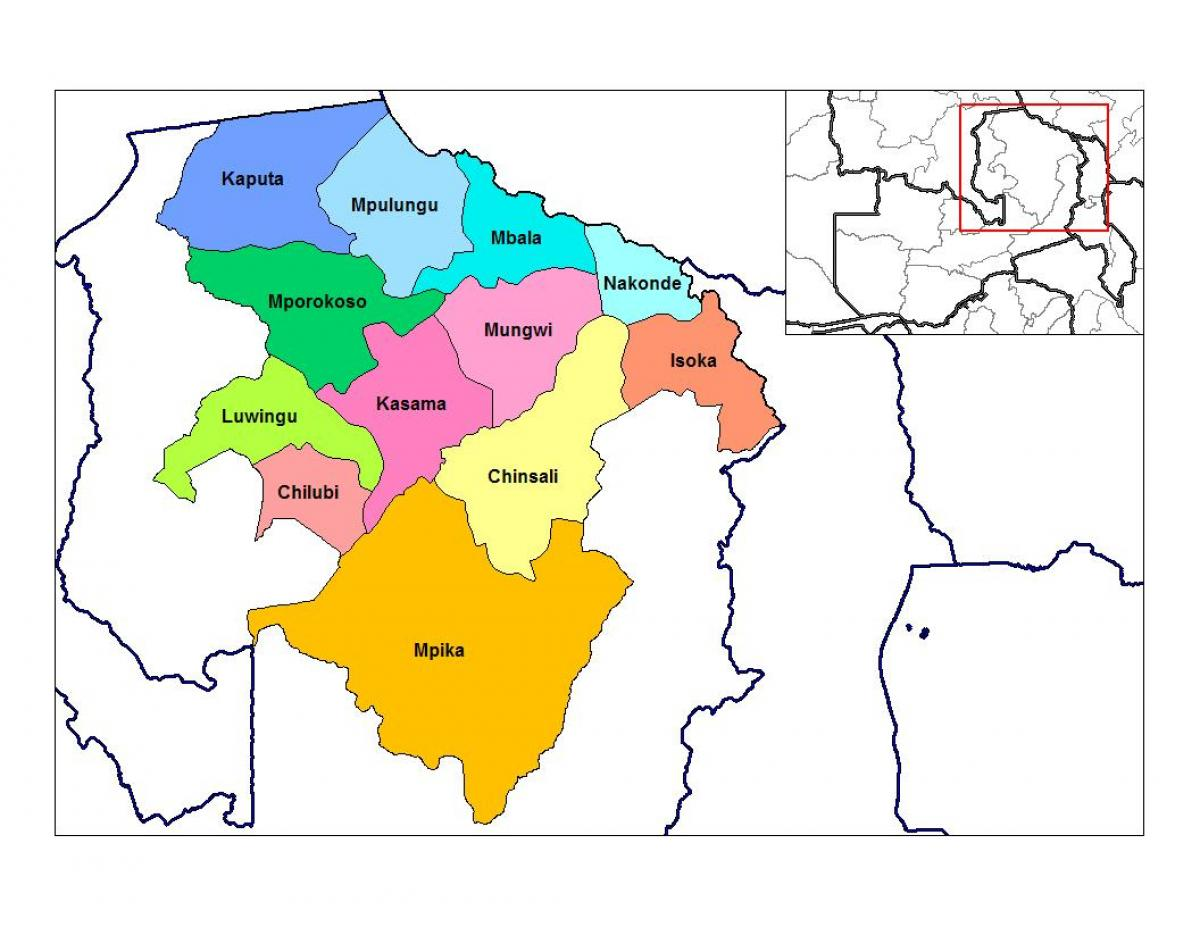Map of northern province Zambia - Map of northern province ...