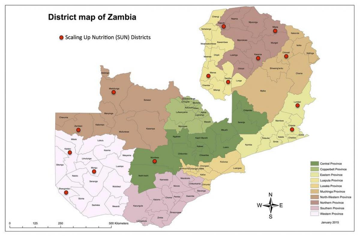 Zambia districts updated map