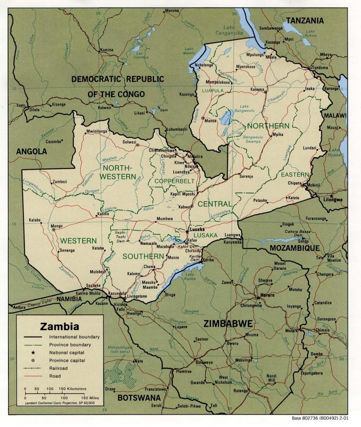 Zambia physical features map