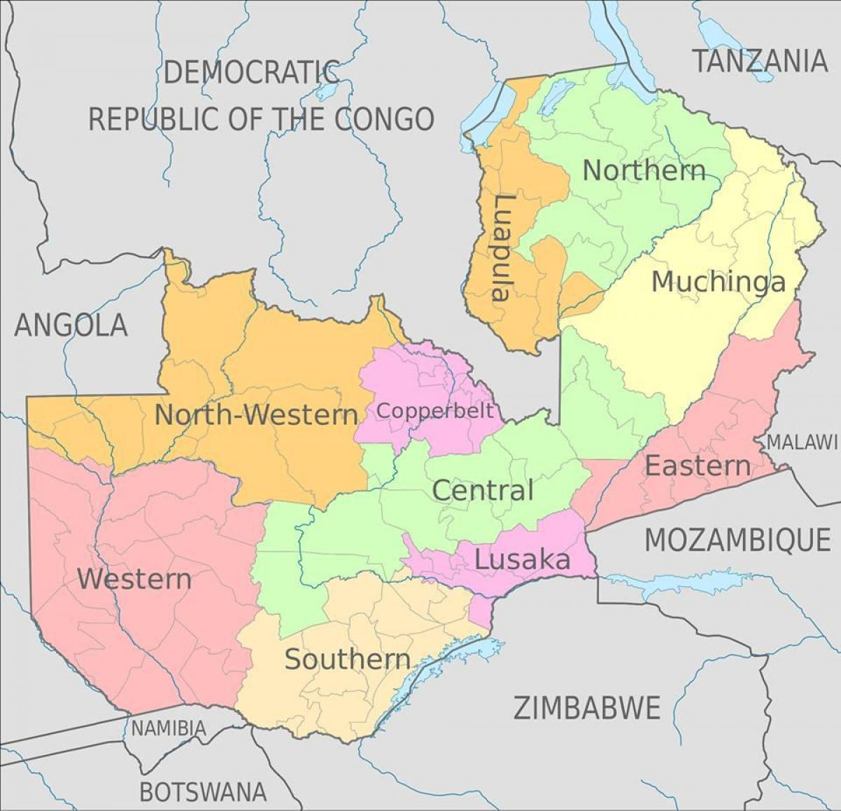 map of Zambia showing 10 provinces