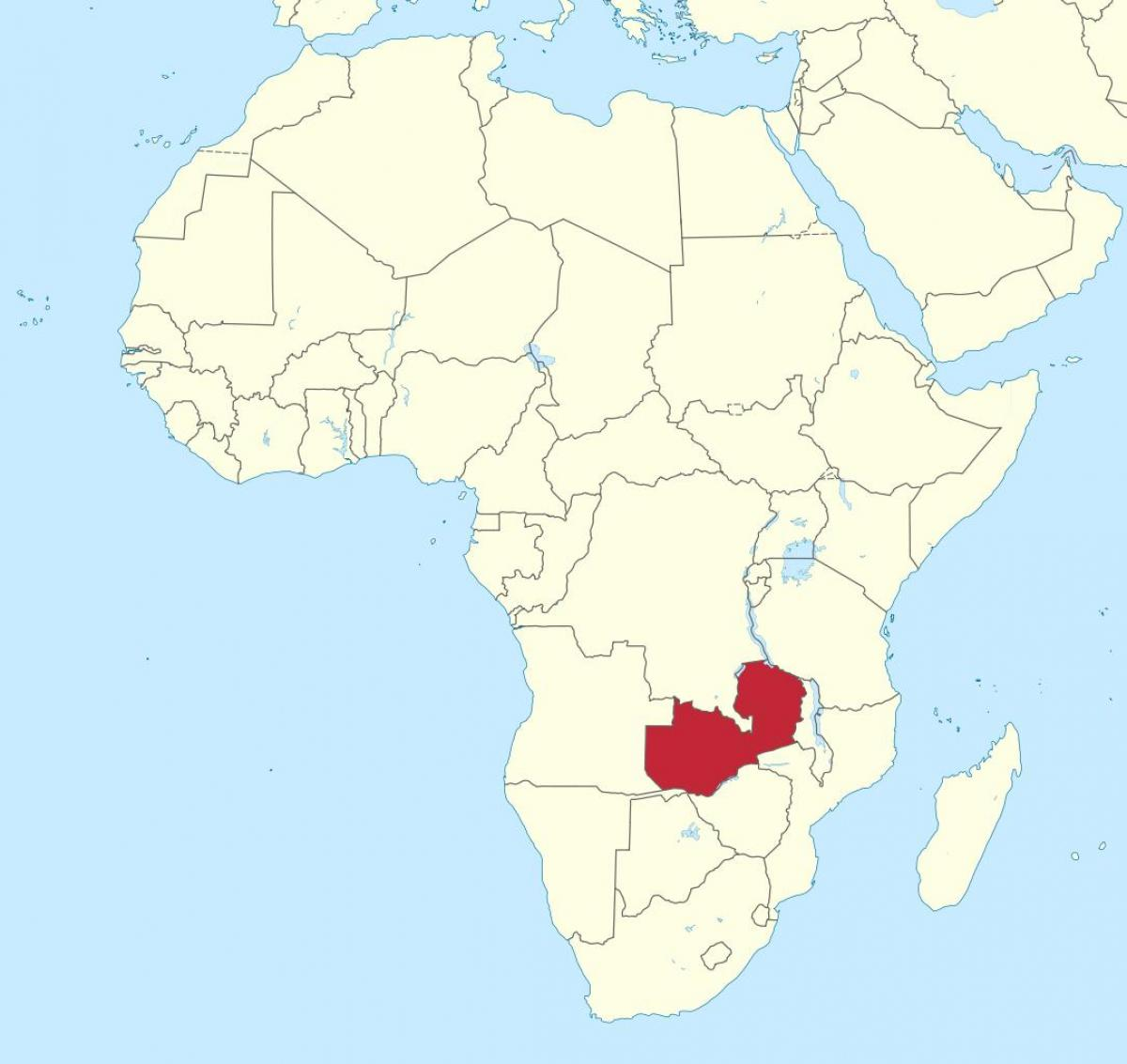 map of africa showing Zambia