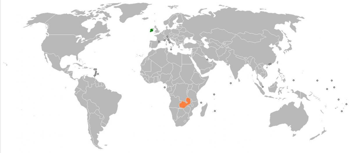 Zambia map in world