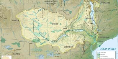 Map of Zambia showing rivers and lakes